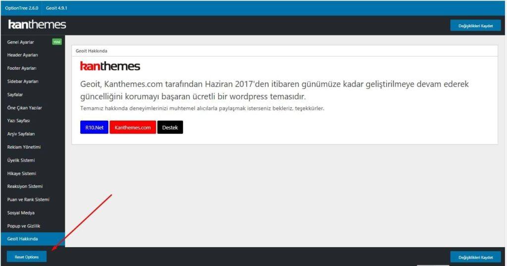 WordPress Tema Sıfırlama
