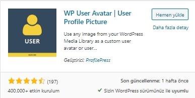 Wordpress Profil Resmi Değiştirme
