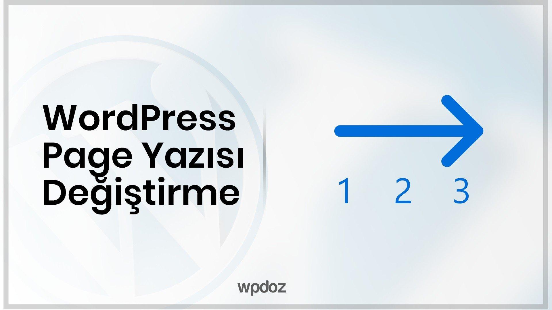 """WordPress """"page"""" Yazısını """"sayfa"""" Olarak Değiştirme"""