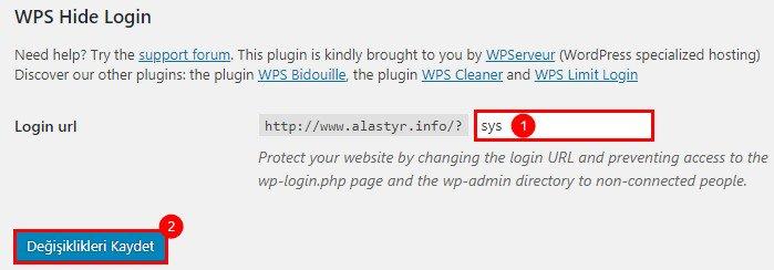 WP-Admin Linki Değiştirme