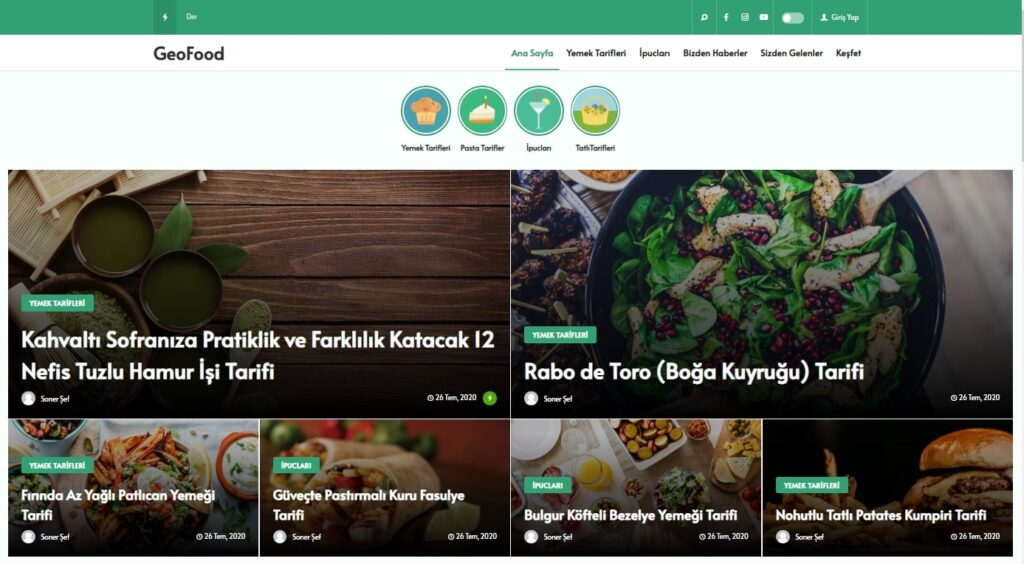 WordPress yemek teması Geofood