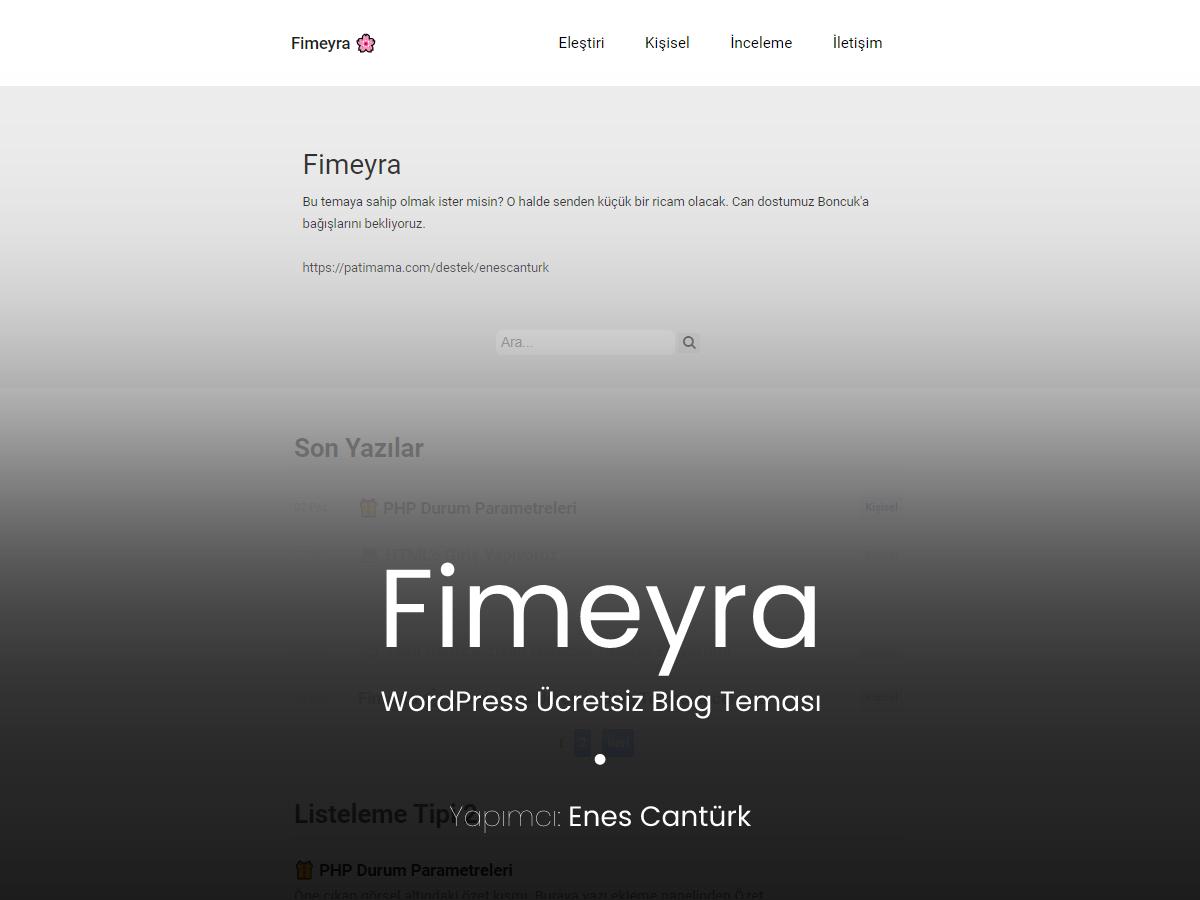 Fimeyra – WordPress Kişisel Blog Teması