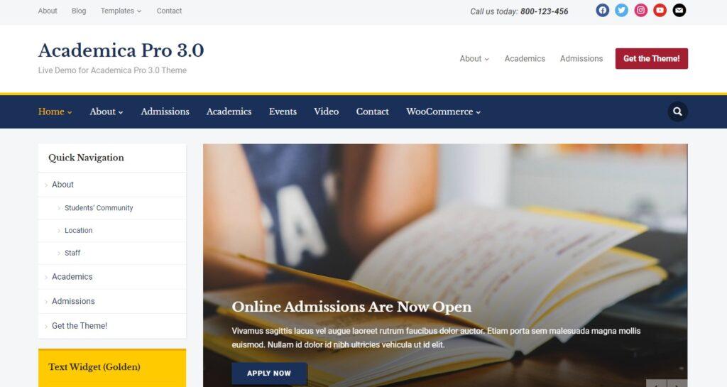 WordPress eğitim teması Academica Pro
