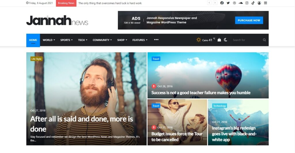 WordPress haber teması Jannah