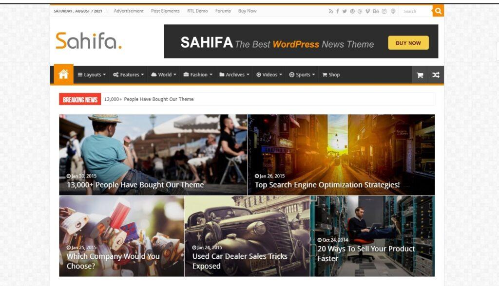 WordPress haber teması Sahifa
