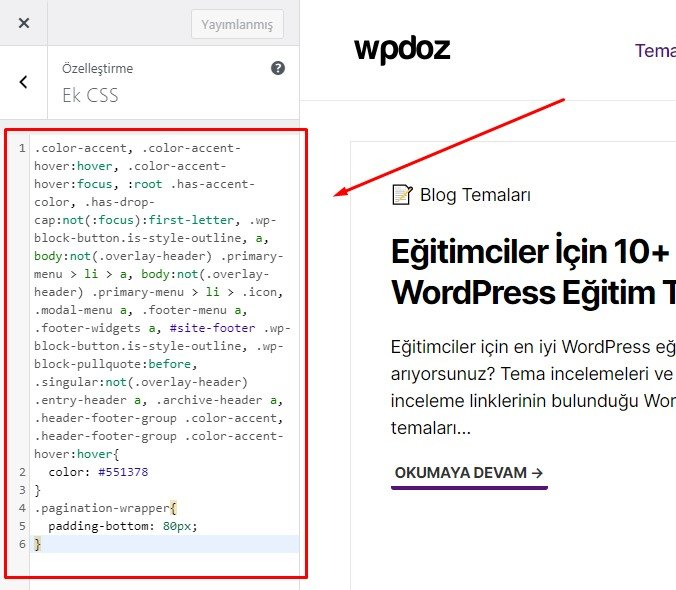 WordPress link rengi değiştirme